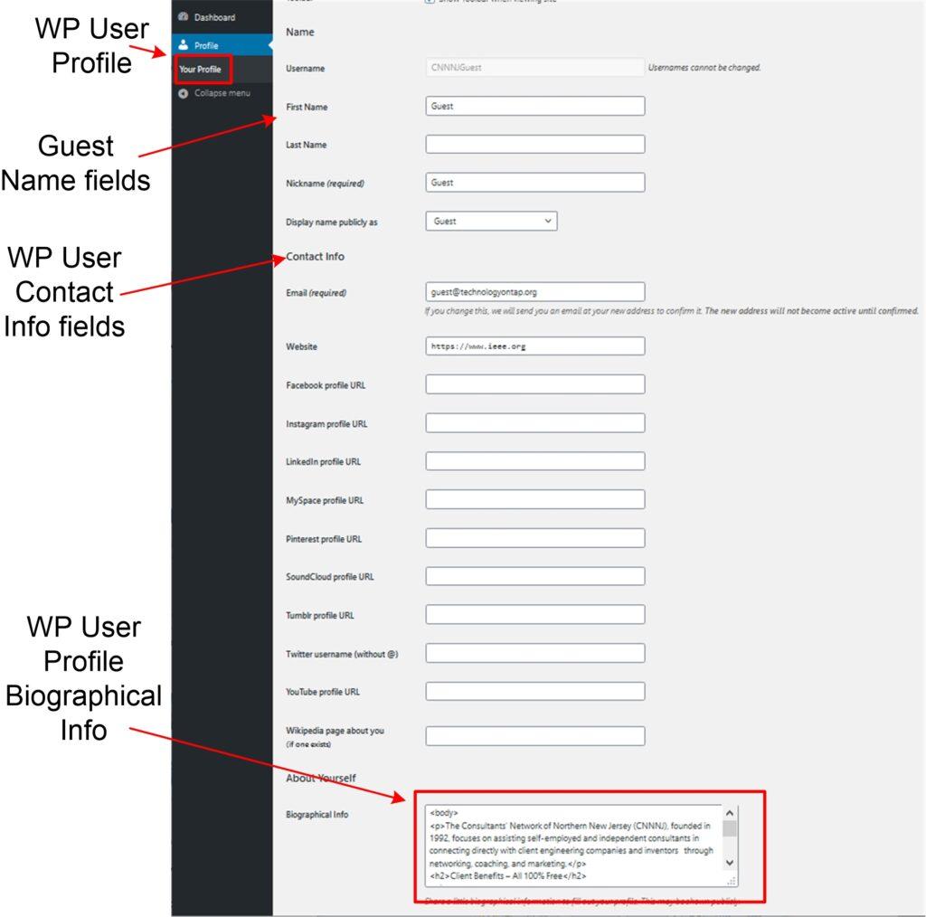 CNNNJ Guest WordPress User Profile Page